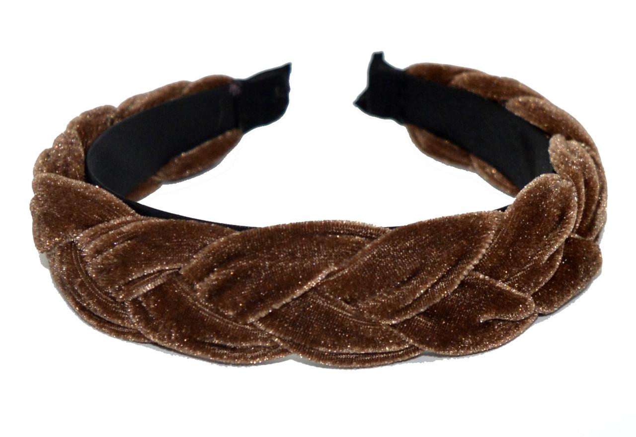 Ободок для волос с велюровой косичкой - коричневый