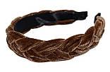 Ободок для волос с велюровой косичкой - коричневый, фото 2