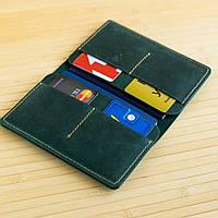 Обложка на два паспорта из натуральной кожи Traveler зеленый