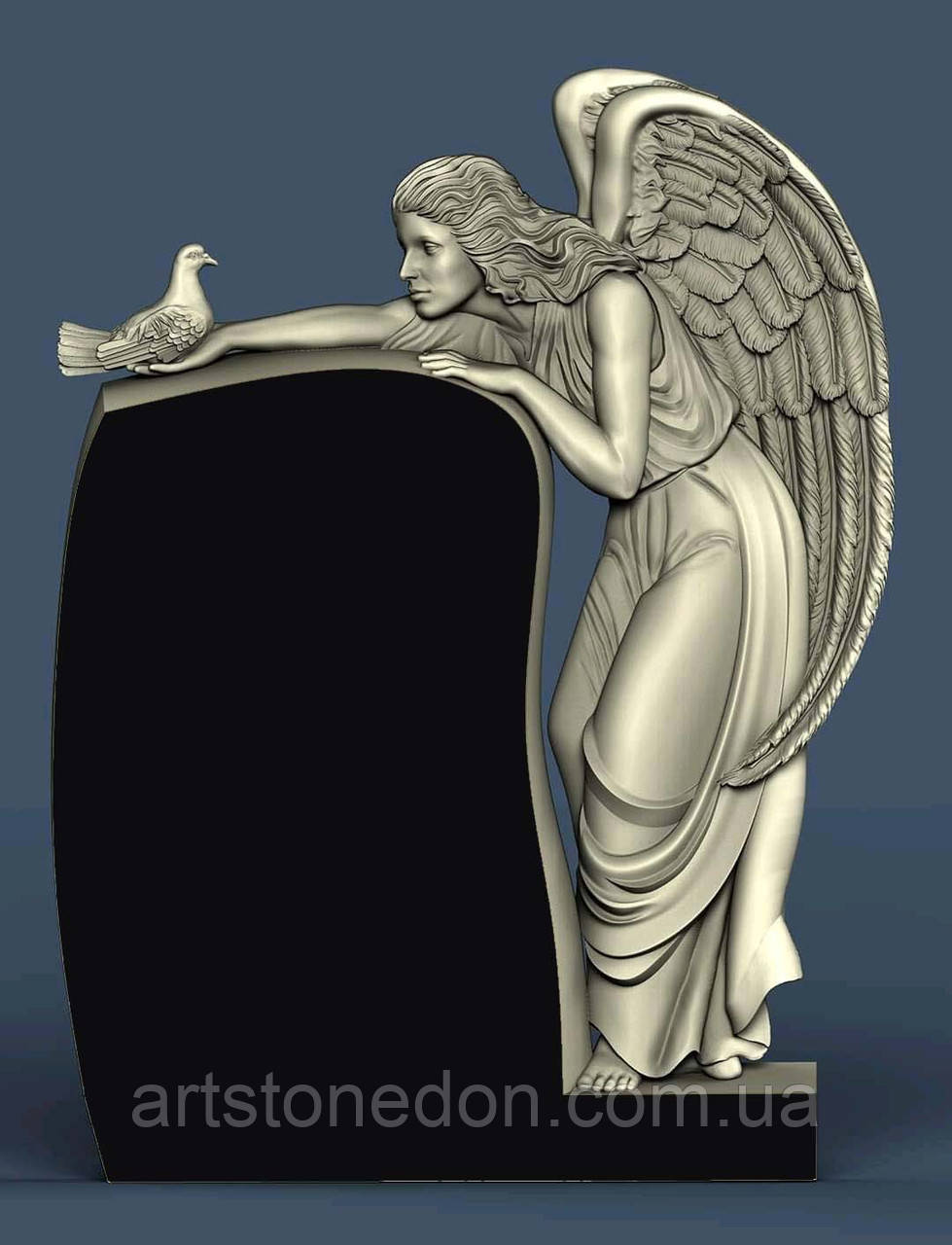Гранитный памятник с ангелом и голубем № 1012