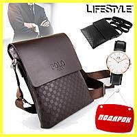 Мужская сумка через плечо Videng Polo / Кожаная мужская сумка (Клетка) + Часы в Подарок