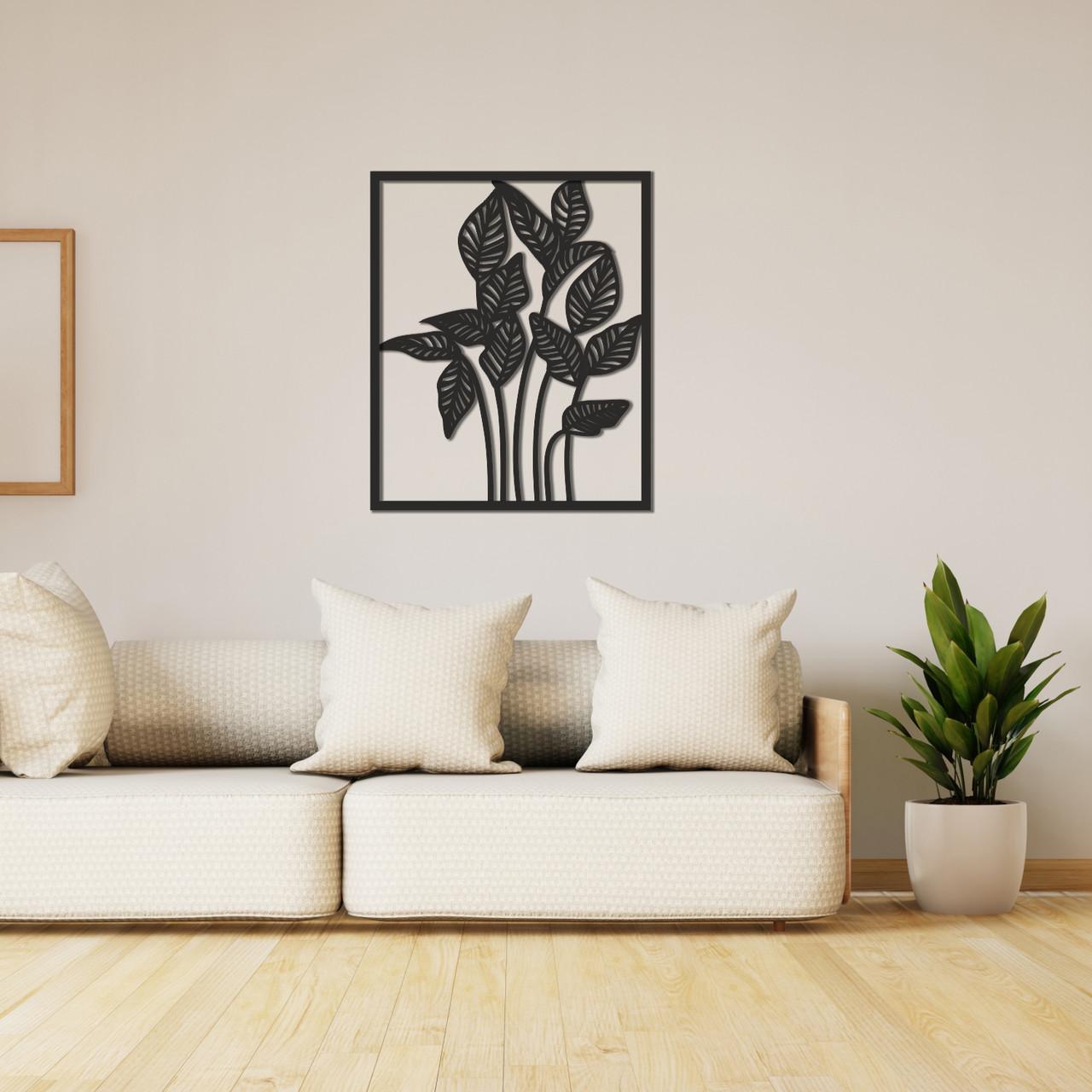 Деревянное интерьерное панно на стену «Растение»