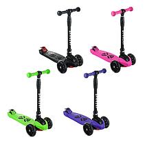 Детский самокат SF508, складной руль, колеса PU светятся, 130 мм, ручной тормоз, цвет фиолетовый, фото 3