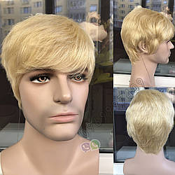 🤵♀️ Мужской натуральный парик блонд, из 100% натуральных волос