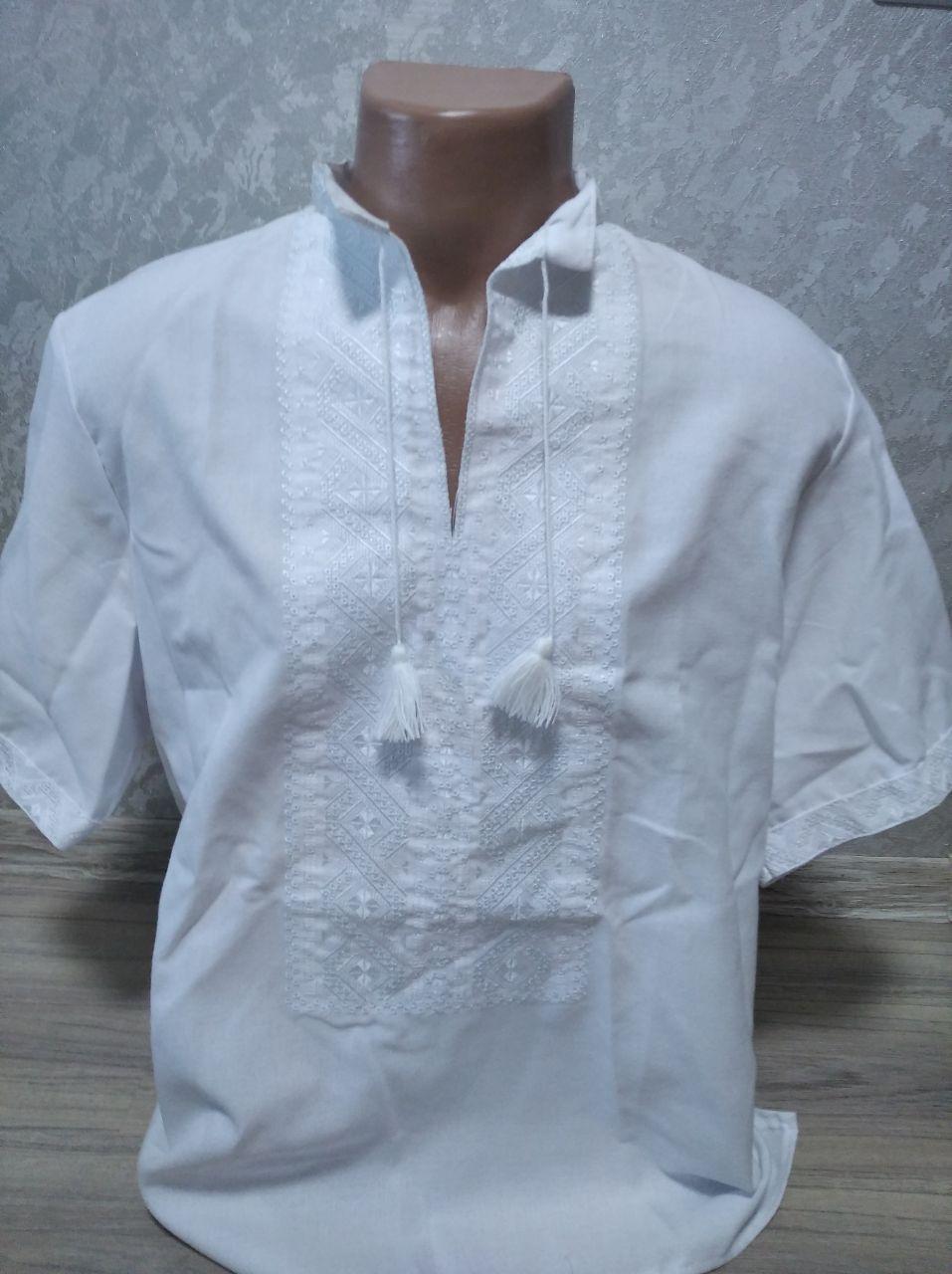 Мужская вышиванка белая с коротким рукавом - размер XL