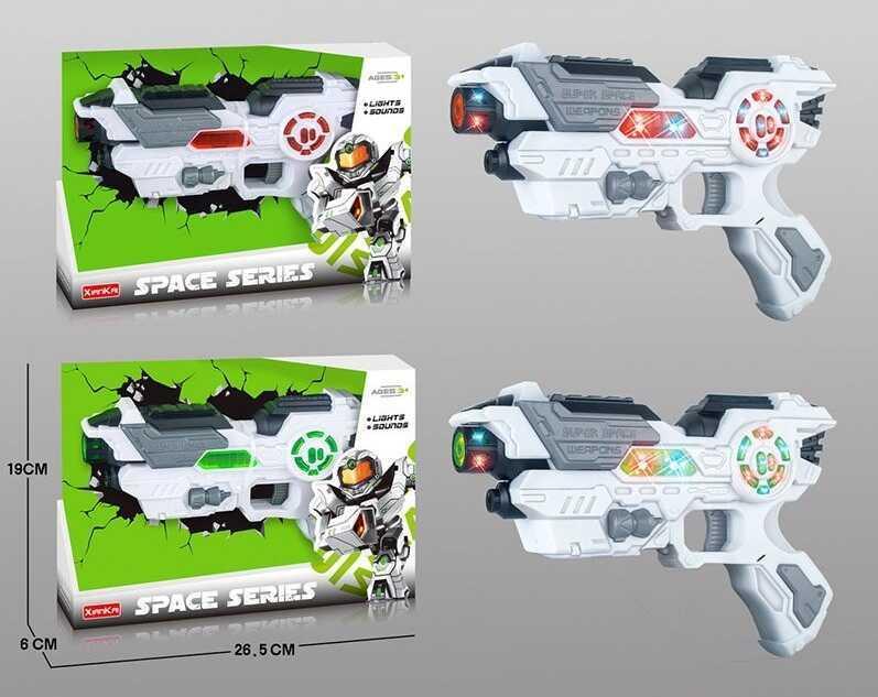Пістолет КТ 118-9 (60/2) 2 кольори, на батарейках, підсвічування корпусу, звук, в коробці