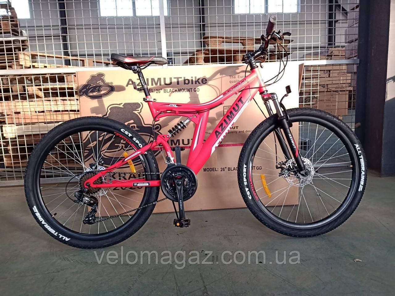 """Велосипед гірський AZIMUT Blackmount 24"""", рама 16"""", червоний"""