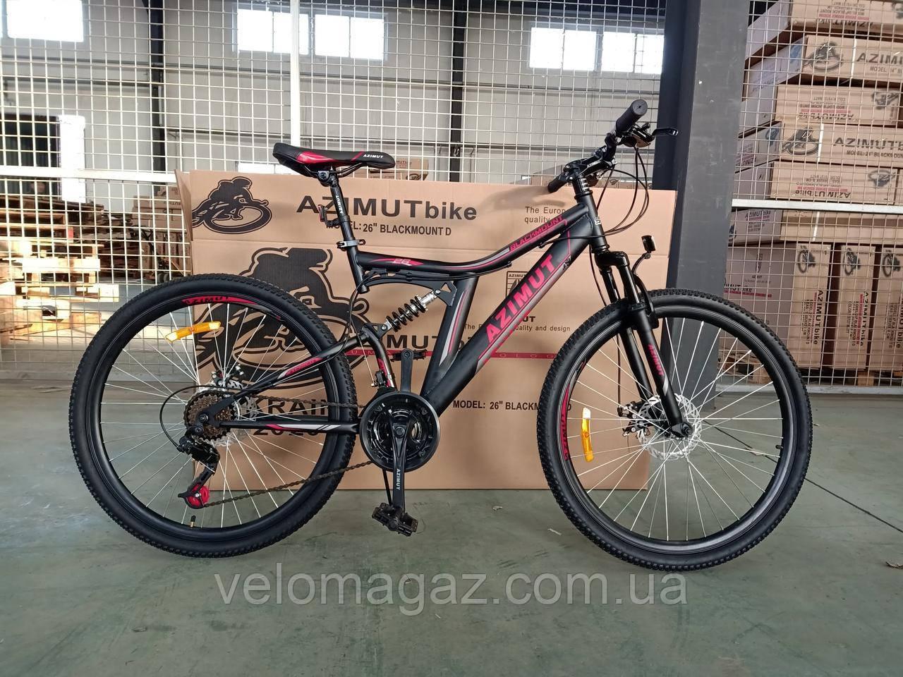 """Велосипед  горный AZIMUT Blackmount 24"""" рама 16"""", черно-красный"""