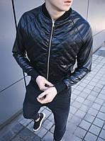 Бомбер мужской кожаный черный классический (куртка осень-весна). Фото в живую. Чоловічі куртки