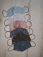 Защитная маска многоразовая двухслойная люрексовая