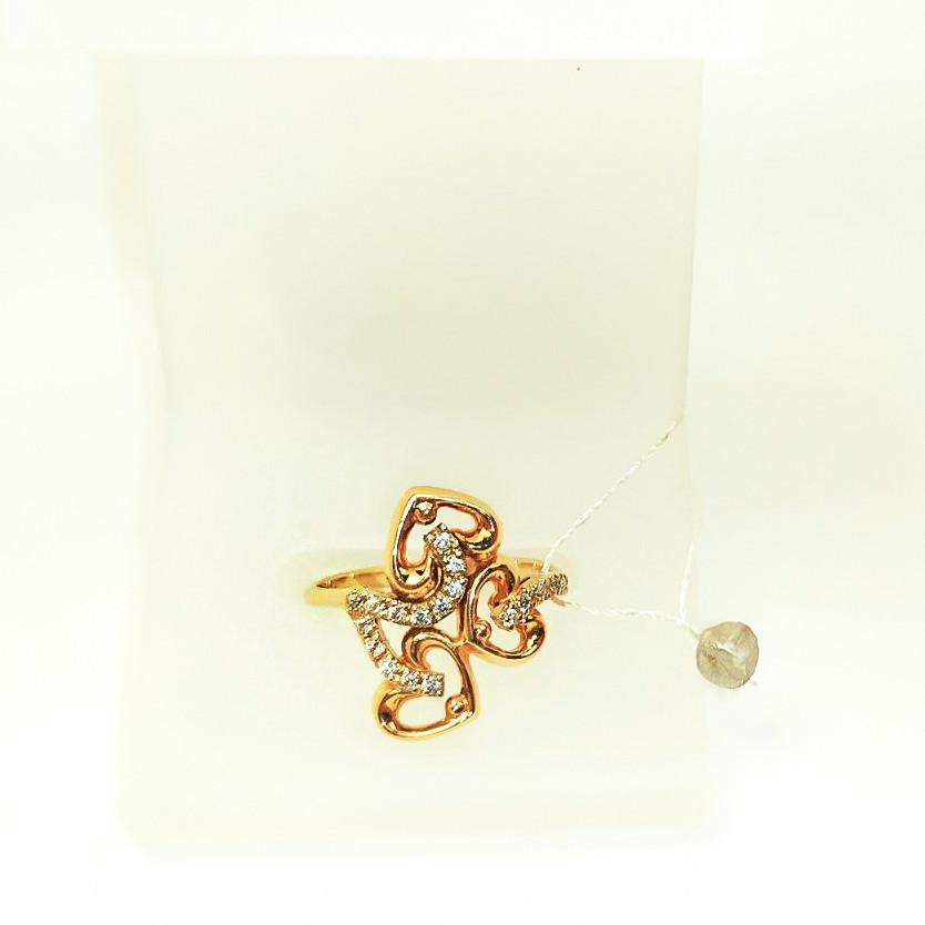 Золотое кольцо Сердце с цирконием