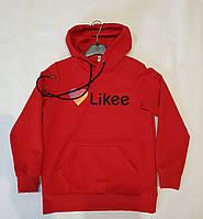Модный свитшот   реглан кофта на девочку  с капюшоном и карманом красная на р.134
