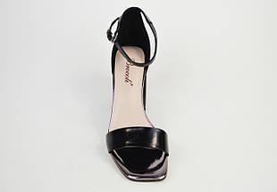 Босоножки с квадратным каблуком Brocoli 788156 Черные кожа, фото 3