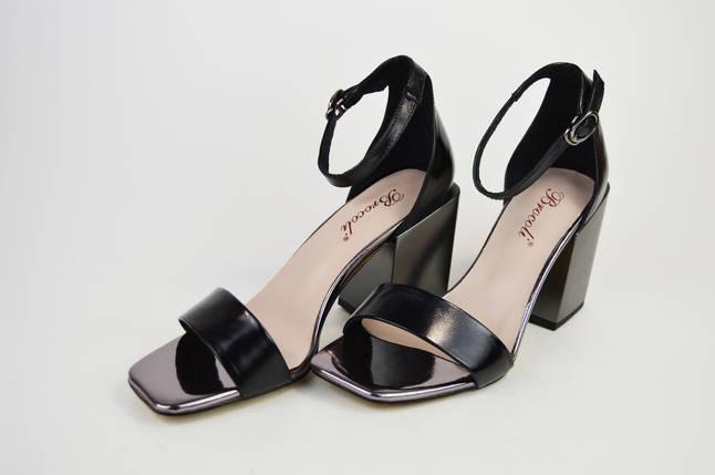 Босоножки с квадратным каблуком Brocoli 788156 Черные кожа, фото 2