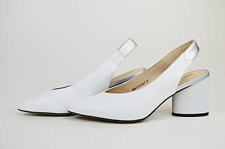 Босоножки с острым носком Geronea 60801 Белые кожа, фото 2