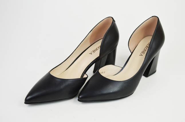 Туфли на каблуке Geronea 41821 Черные кожа, фото 2