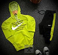Мужской спортивный костюм Найк черно-салатовый (Nike) модный с лампасами, фото 1