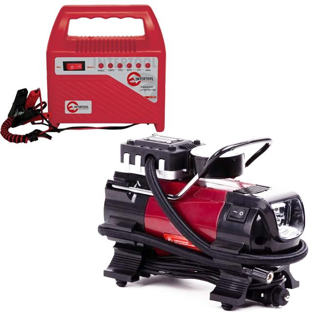 Компрессор автомобильный(12В. Один цилиндр 19 мм) INTERTOOL AC-0001 + Зарядное устройство  INTERTOOL AT-3012