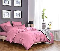 Однотонное постельное белье из сатина розового цвета