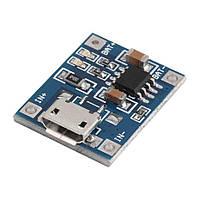 USB зарядное устройство для литиевых батарей 3,7В, Imax 1A, TP4056  microUSB (без защиты)