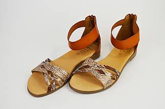 Босоніжки жіночі Presso 23371 Світло-коричневі шкіра, фото 2