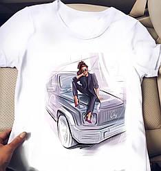Белая женская футболка с крутыми картинками
