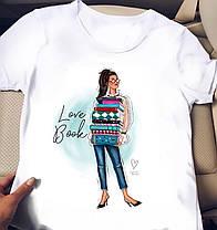 Белая женская футболка с крутыми картинками, фото 3