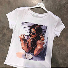 Белая женская футболка новые рисунки 2021