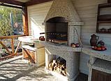 """Бетонний стіл-плита для вуличного каміна, барбекю """"Сицилія"""" з фасадом, фото 2"""