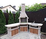 """Бетонний стіл-плита для вуличного каміна, барбекю """"Сицилія"""" з фасадом, фото 4"""