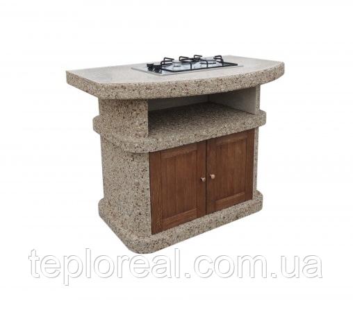 """Бетонний стіл-плита для вуличного каміна, барбекю """"Сицилія"""" з фасадом"""