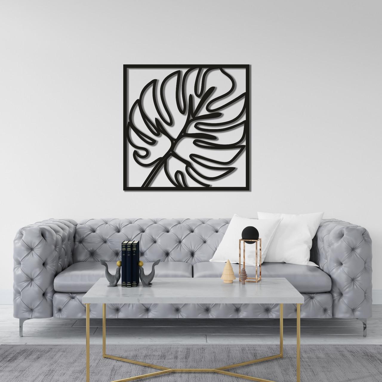 Деревянная настенная абстракция в интерьер «Лист Монстеры»