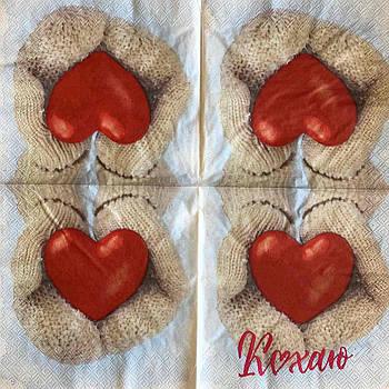 """Салфетка декупажная 33x33 см 23 """" Романтика сердце Любовь Кохаю Сердце в руках варежки """" Серветка для декупажу"""