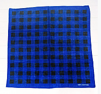 Оригинальная хлопковая бандана, клетка, 55*55 см, синий, фото 1