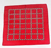 Оригинальная хлопковая бандана, клетка, 55*55 см, красный, фото 1