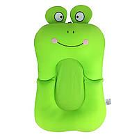 Складной нескользящий матрасик в ванночку SUNROZ Frog Shape Baby Bath Mat для купания ребенка Зеленый