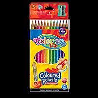 Карандаши цветные трехгранные 14 цветов с точилкой, Colorino