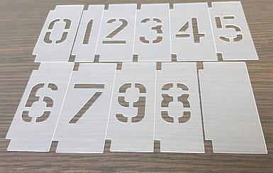 Трафарет с цифрами 0-9 многоразовые с рамкой для набора цифр (от 20 до 200 мм)