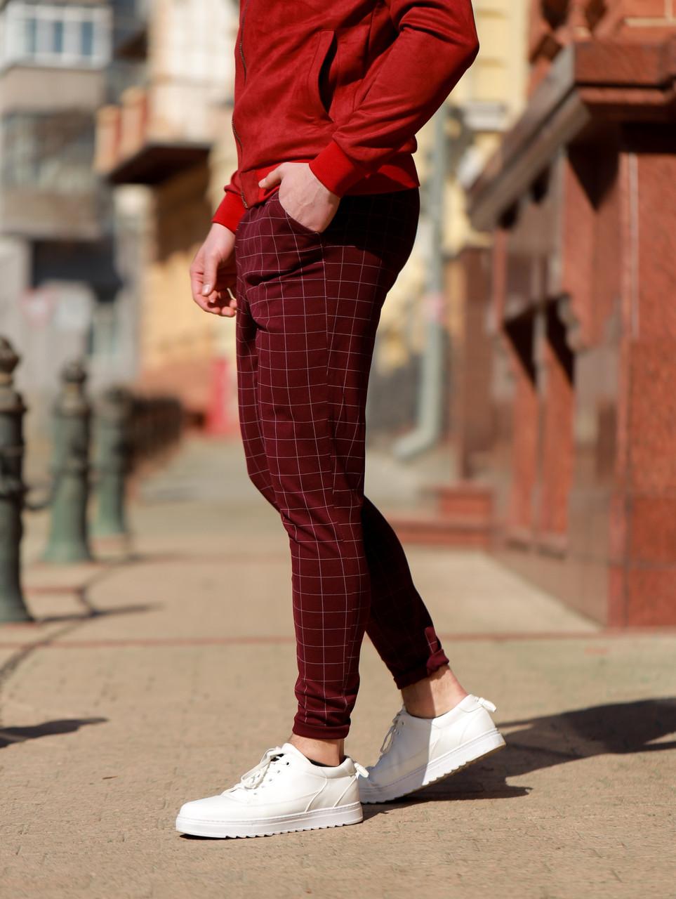 Мужские бордовые классические брюки, мужские классические штаны в клетку