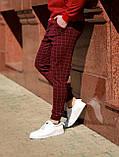 Мужские бордовые классические брюки, мужские классические штаны в клетку, фото 2