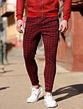 Мужские бордовые классические брюки, мужские классические штаны в клетку, фото 3