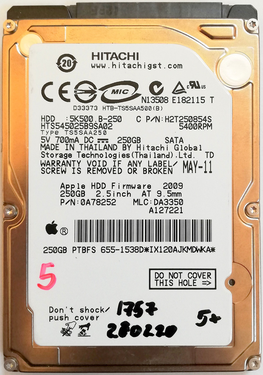 "Жесткий диск для ноутбука Hitachi Travelstar 250GB 2.5"" 8MB 5400rpm 3Gb/s (HTS545025B9SA02) SATAII Б/У"