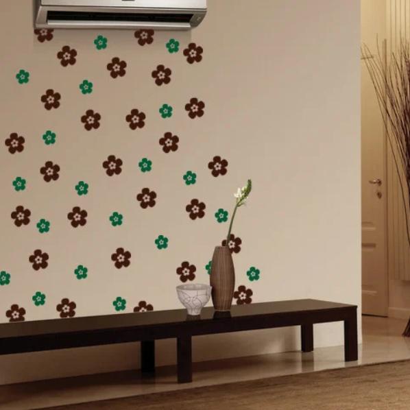 Набор виниловых наклеек Цветочки (самоклеющиеся интерьерные наклейки пленка ПВХ) матовая