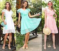 Женское летнее платье красивое двухслойное макраме
