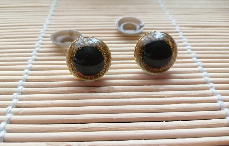 Глазки блестящие, безопасные, золотые, 16 мм