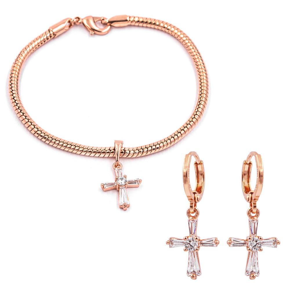 Комплект позолота «Крестики» кулон+браслет+серьги (Медицинское золото)