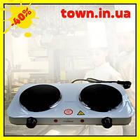 Электроплита настольная Crownberg CB-3746 | Электрическая плита на 2 диска | Дисковая плита