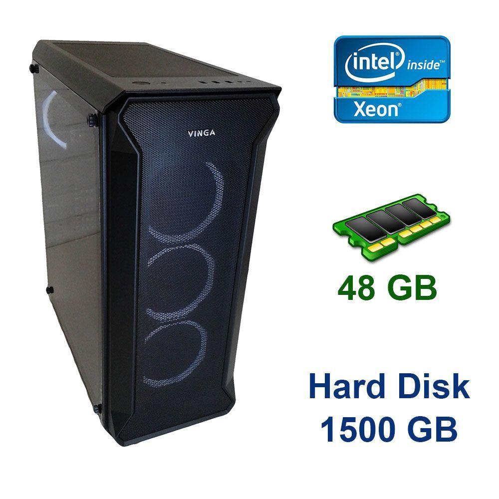 Сервер Midi-Tower Vinga / 2x Intel Xeon X5675 (6 (12) ядер по 3.06 - 3.46 GHz) / 48 GB DDR3 / 1000 GB жесткий