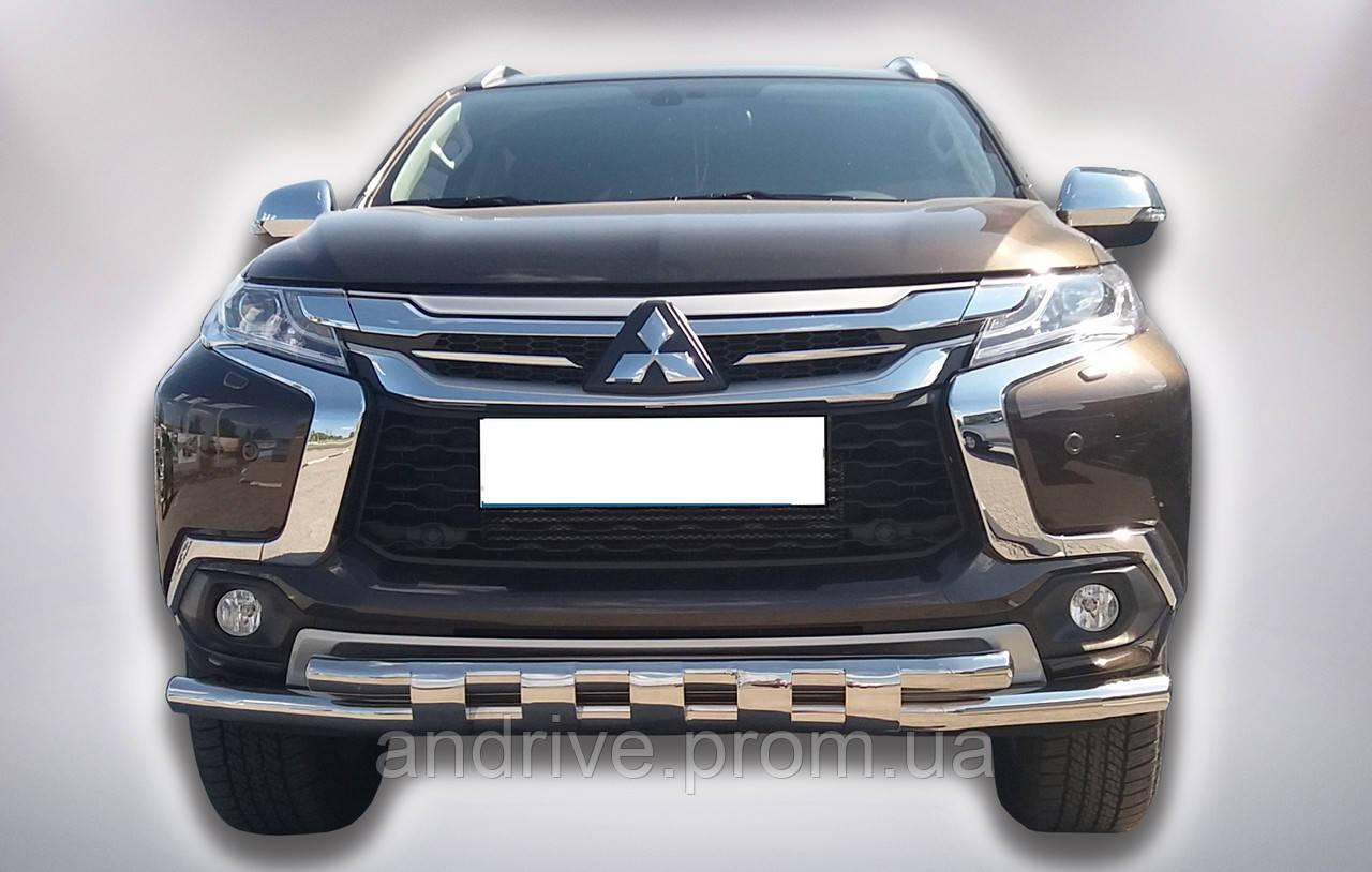 Защита переднего бампера (ус двойной SHARK) Mitsubishi Pajero Sport 2016-2020