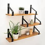 Настенные деревянные полочки в стиле лофт в ассортменте, фото 6
